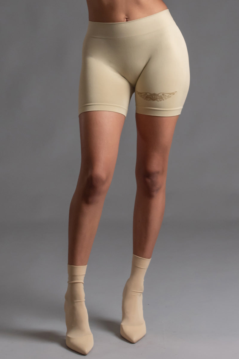 ANGELS CLUB BIKER SHORTS - SAND N GOLD