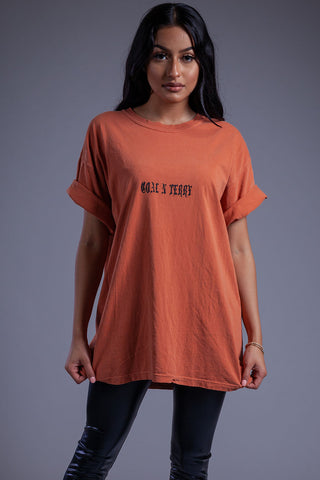 BURNT ORANGE N WHITE DOUBLE F TEE