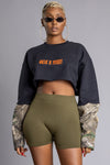 BLK N ORANGE MINI MEDI HT CROP CREW