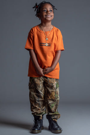 KIDS ORANGE N BLK BAR TEE