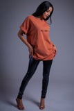 BURNT ORANGE N BLK MINI MEDI TEE