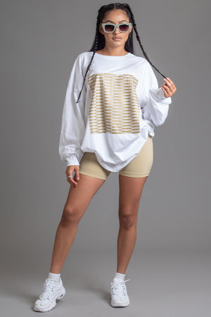 WHITE N GOLD FULL CHECKER LONG SLEEVE TEE