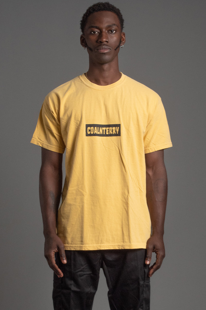 GUYS MUSTARD N BLK BAR TEE