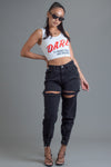 WHITE N RED DARE CROP TANK