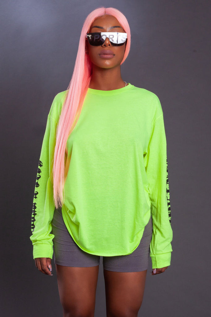 NEON GREEN  N BLK TRAP TEE