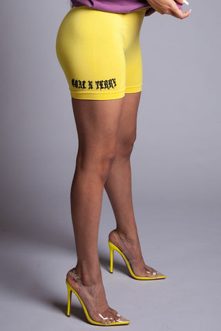 BLK N YELLOW LONG MEDI BIKER SHORTS