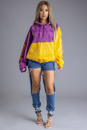 YELLOW DYED N PURPLE TRAPBAR PATCHWORK HOODIE