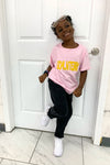 KIDS PINK N YELLOW SPRAY TEE