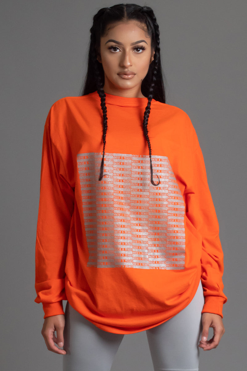 ORANGE N SILVER FULL CHECKER LONG SLEEVE TEE
