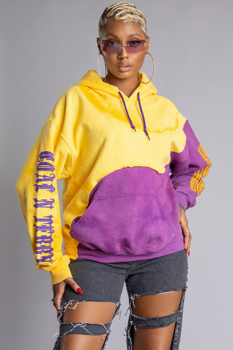 PURPLE DYED N YELLOW TRAPBAR PATCHWORK HOODIE