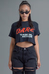 BLK N RED DARE CROP TEE