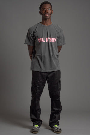 GUYS DARK GREY N PINK CHECKER TEE