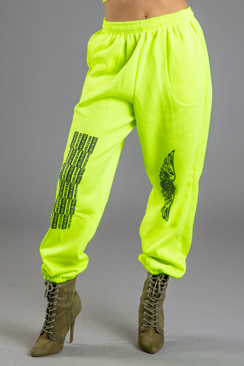 NEON GREEN N BLK ANGELS CLUB JOGGER