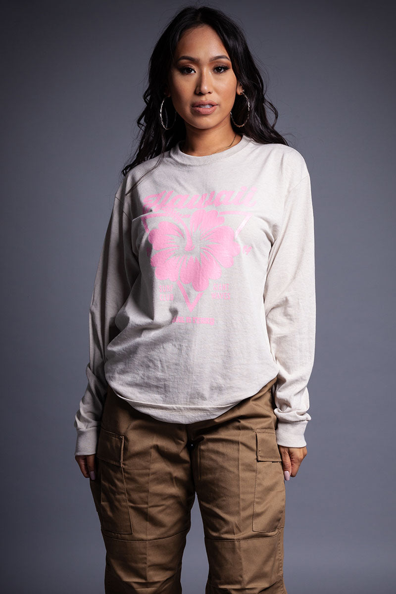 LONG SLEEVE SAND N PINK HAWAII TEE