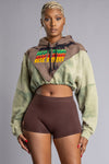 ACID N RUSTED TRIPATCH MEDI TRAIL CROP HOODIE