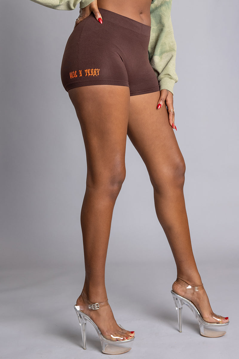 CHOCOLATE N ORANGE MINI MEDI BIKER SHORTS