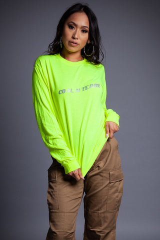 NEON GREEN N BLK MINI MEDI POLY TEE