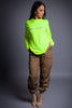 LONG SLEEVE NEON GREEN N SILVER CNT TEE