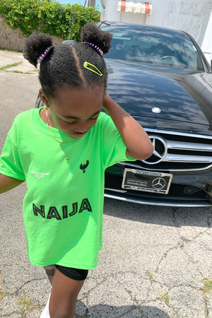 KIDS NEON GREEN TEAM NAIJA TEE