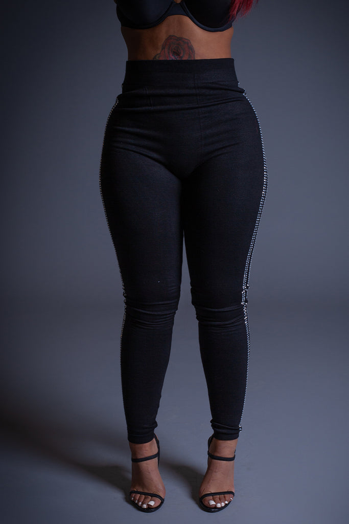 BLK RHINESTONE LEGGINGS