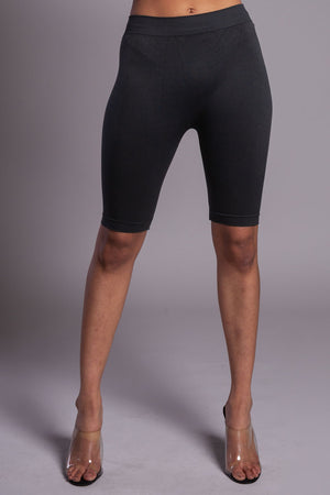 BASIC LONG BIKER SHORTS - DARK GREY