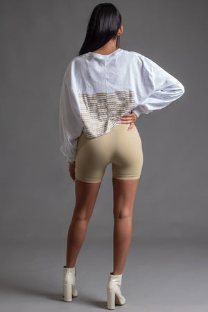 WHITE N GOLD FULL CHECKER LONG SLEEVE CROP TEE