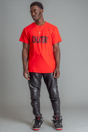 GUYS RED N BLK SPRAY TEE