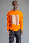GUYS ORANGE N SILVER FULL CHECKER LONG SLEEVE TEE