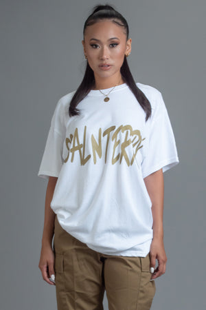 WHITE N GOLD CNT OVERLAY TEE