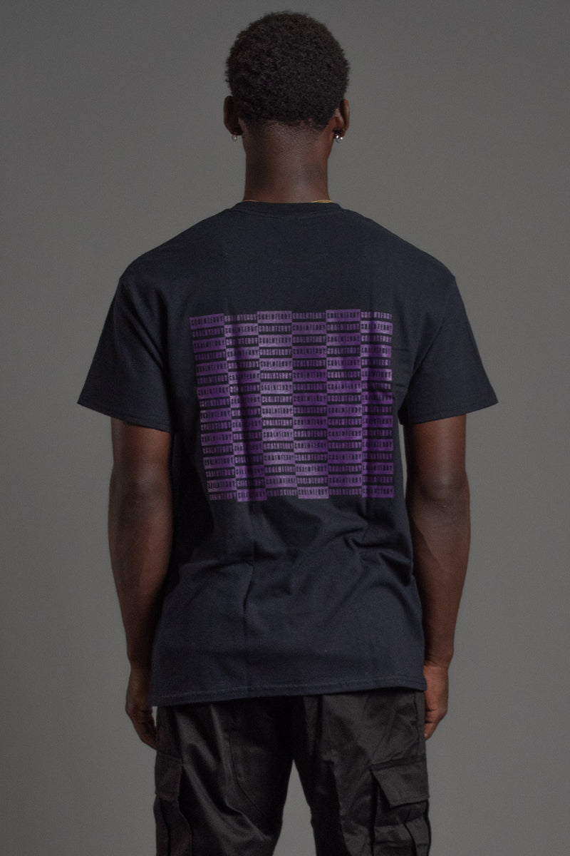 GUYS BLK N PURPLE CHECKER TEE