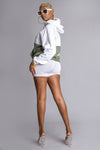 WHITE N HEMP PATCHWORK CNT SPRAY HOODIE