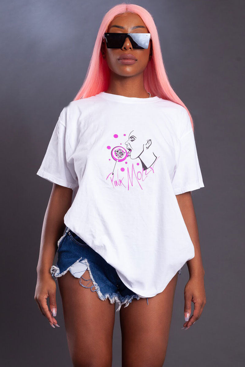 ROCK PINK MOLLY TEE - WHITE