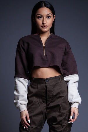 CHOCOLATE N SAND ZIPPER CROP CREW