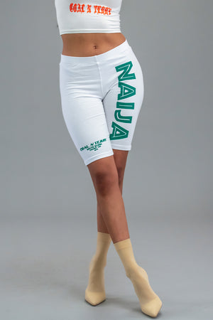 WHITE N GREEN TEAM NAIJA LONG BIKER SHORTS