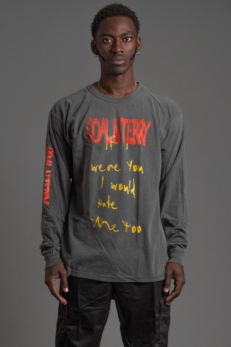 GUYS LONG SLEEVE DARK GREY HATE ME TEE