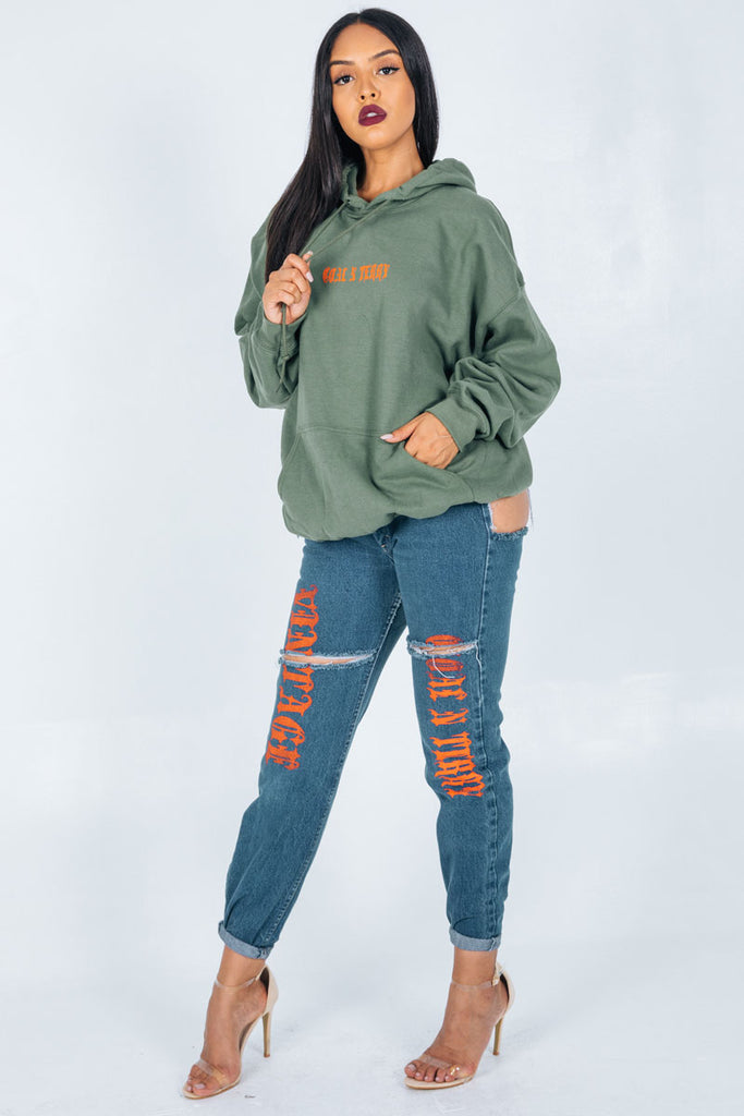 GREEN N ORANGE MINI MEDI HOODIE