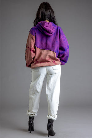 PURPLE DYED SHOWTIME PATCHWORK HOODIE