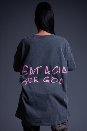 DARK GREY N PINK EAT ACID TEE