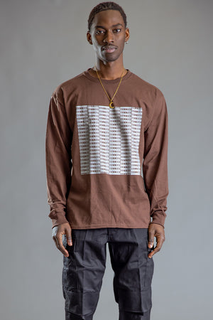 GUYS CHOCOLATE N SILVER FULL CHECKER LONG SLEEVE TEE