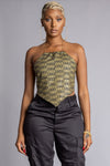 GOLD N BLK CHECKER CHAIN HALTERED TOP