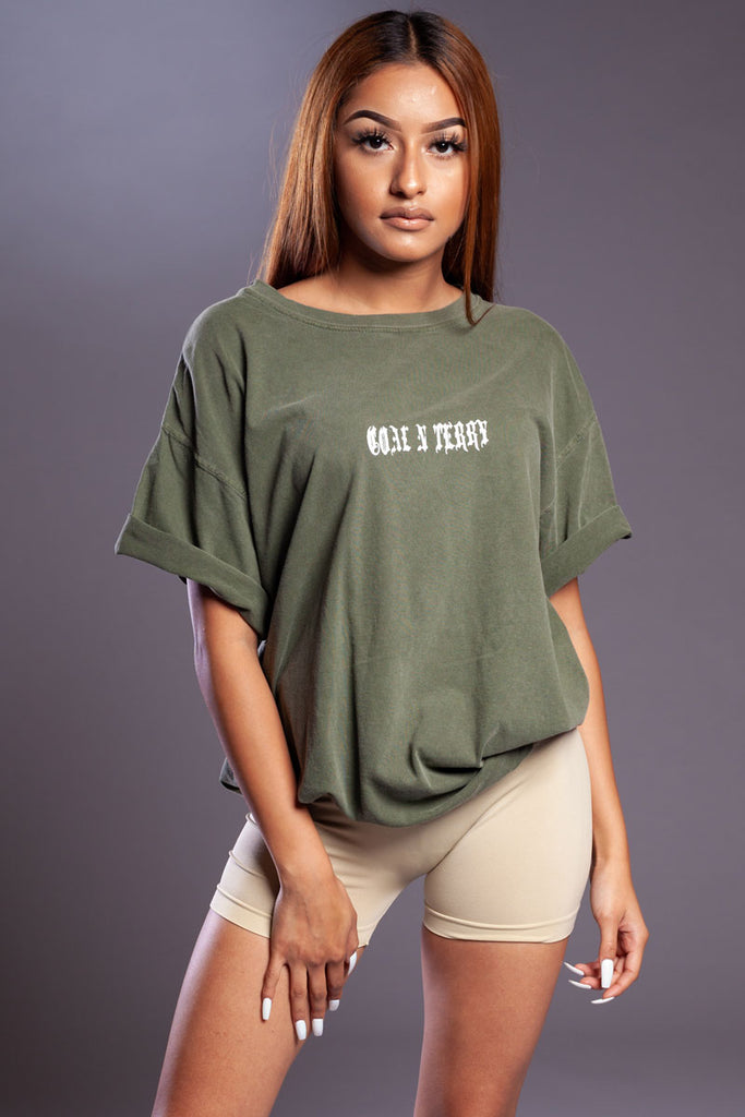 GREEN N WHITE MINI MEDI TEE