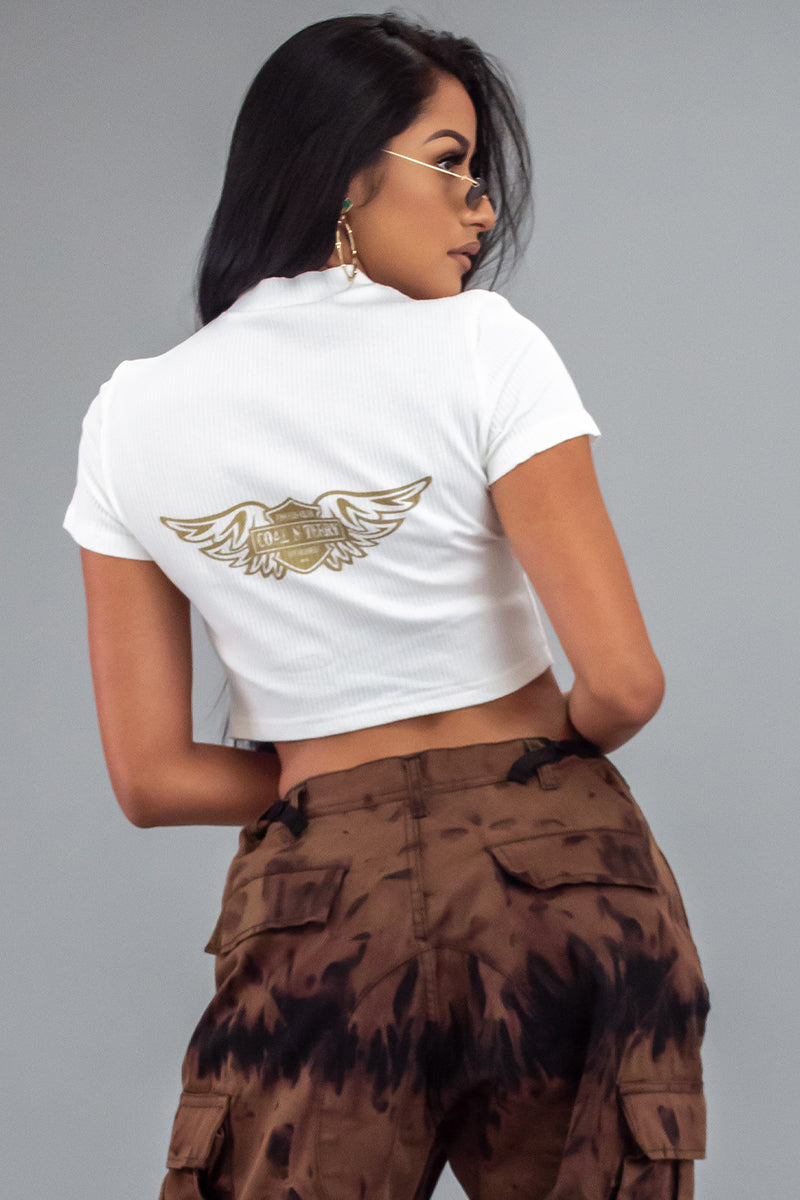 WHITE N GOLD ANGELS CLUB ZIPPER CROP TOP