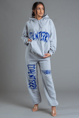 LIGHT GREY N BLUE CNT OVERLAY HOODIE