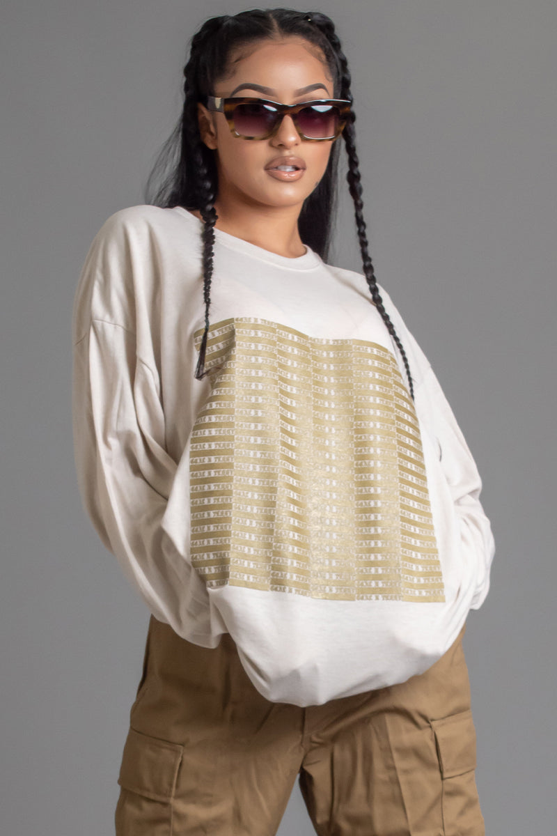 SAND N GOLD FULL CHECKER LONG SLEEVE TEE