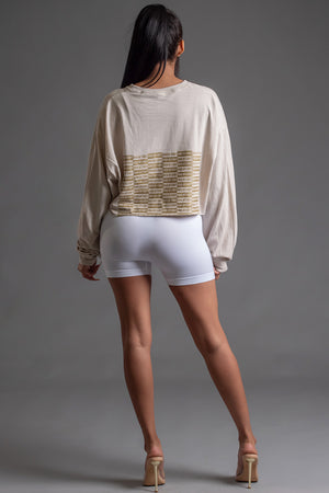 SAND N GOLD FULL CHECKER LONG SLEEVE CROP TEE