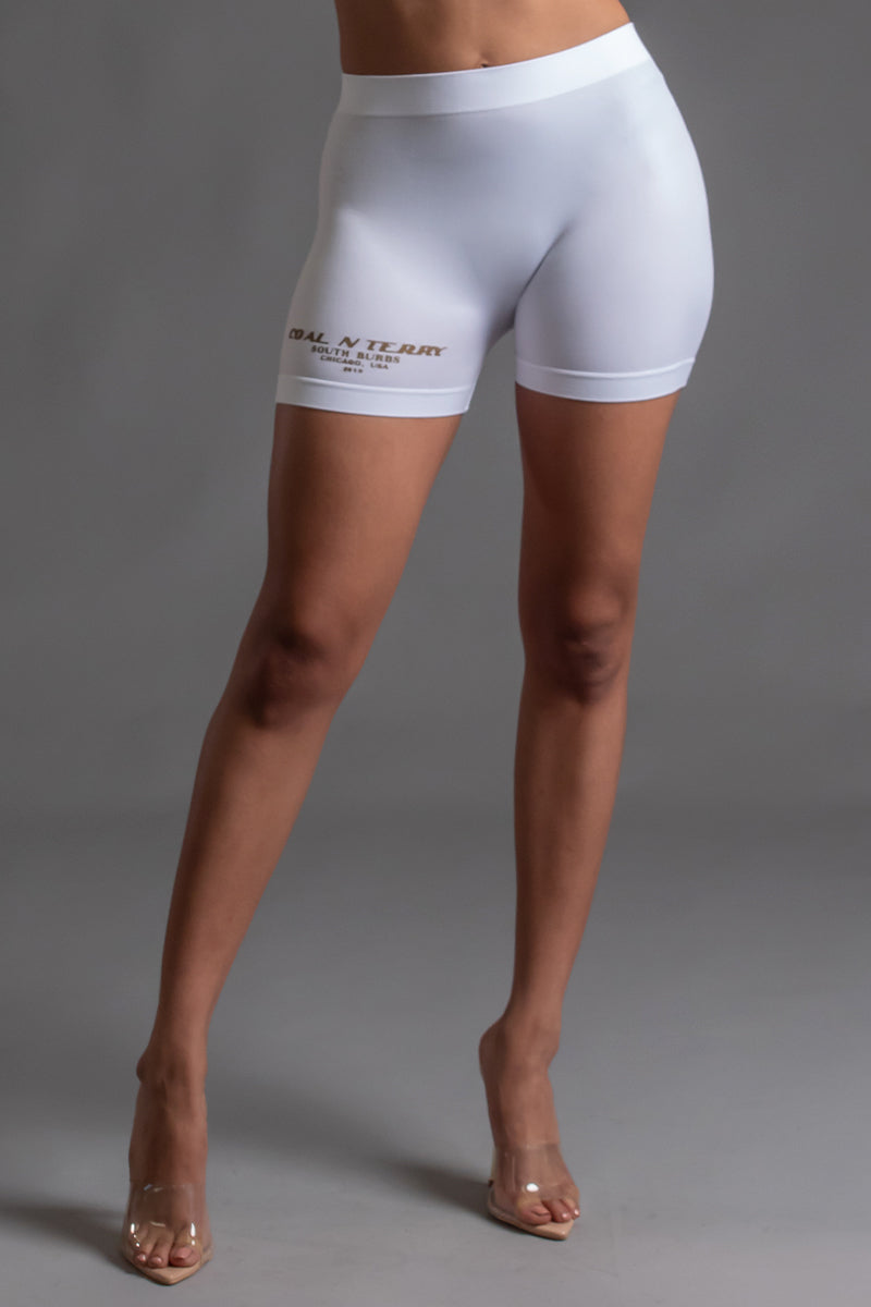 BURBS BIKER SHORTS - WHITE N GOLD