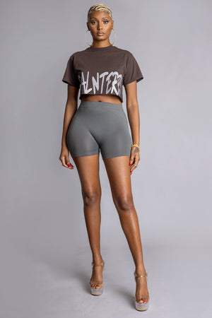 CHOCOLATE N SILVER CNT OVERLAY CROP TEE