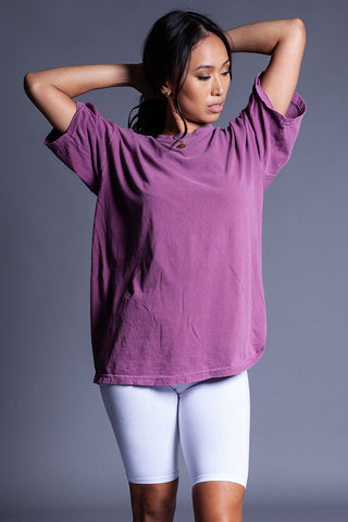 LIGHT GREY N PINK MINI MEDI CROP TEE