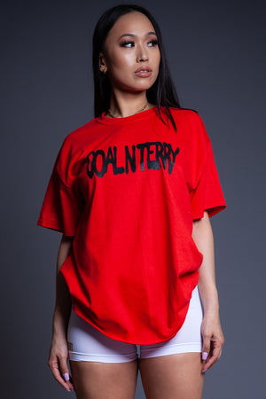 RED N BLK SPRAY CNT TEE