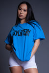 BLUE N BLK SPRAY CNT TEE